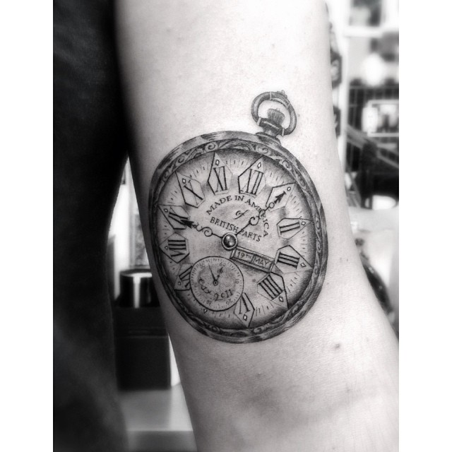Pocket watch tattoo stencil