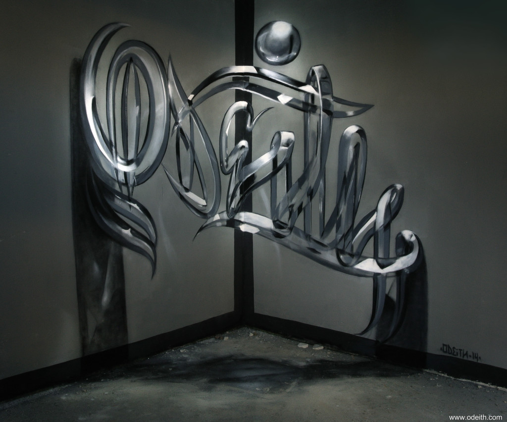 Odeith-Anamorphic-graffiti-letters-Glossy-glass-effect